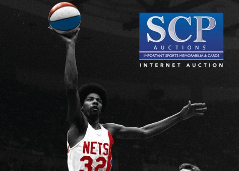 """6db5b531b SCP Auctions Brings Record Results – """"Dr. J"""" ABA Ring Sells for $460,741;  Gehrig bat for $403,664 - Auction Report"""