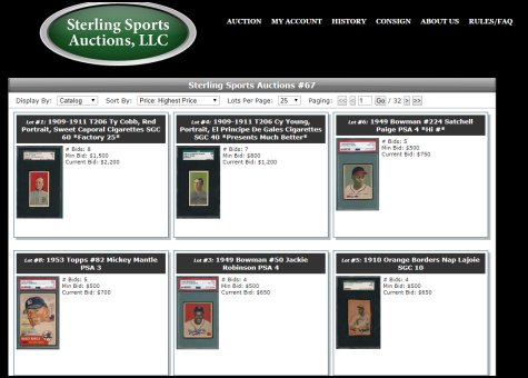 Sterling Sports Auctions Current Auction Featuring T206 And T201 Sets Ends November 16 2017 Auction Report