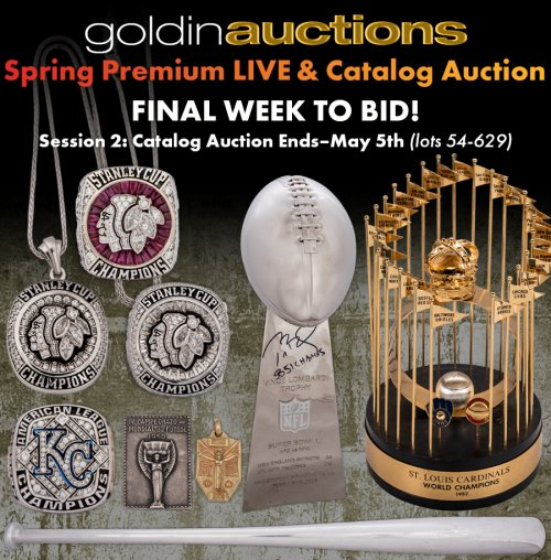 The deadline for consigning an item to the company s next internet-only  auction is May 15. The consignment deadline for the Goldin Auctions Summer  Premium ... 00caa23f2