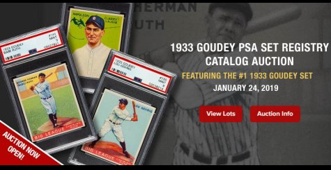 Heritage Sports 1933 Goudey PSA Set Registry Auction Ends January 24, 2019