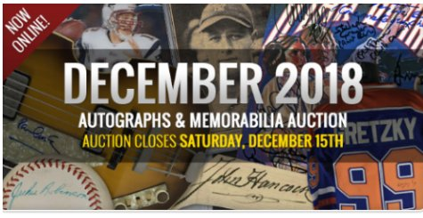 Iconic Auctions December 15, 2018 Autographs & Memorabilia Feature Auction In Progress