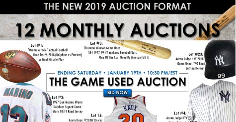 Steiner Auctions Monthly Game Used & Memorabilia Auction In Progress – Ends January 19-20, 2019